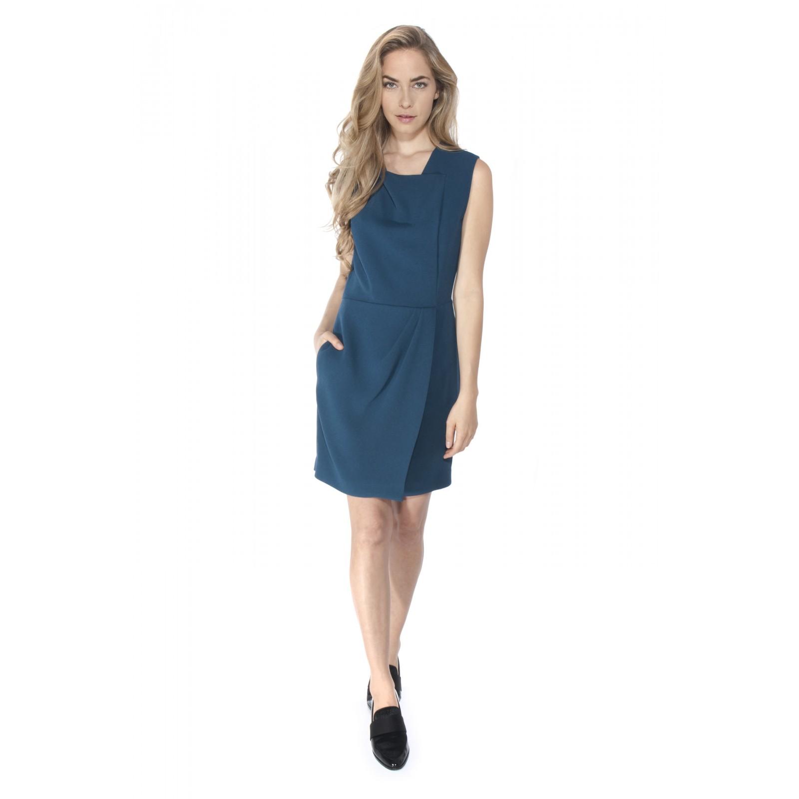 Asymmetric Drape Dress: 3.1 Phillip Lim Asymmetric Draped Dress In Blue (peacock