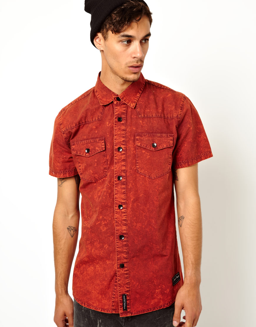 Asos Afends Acid Denim Shirt with Short Sleeves in Red for Men | Lyst