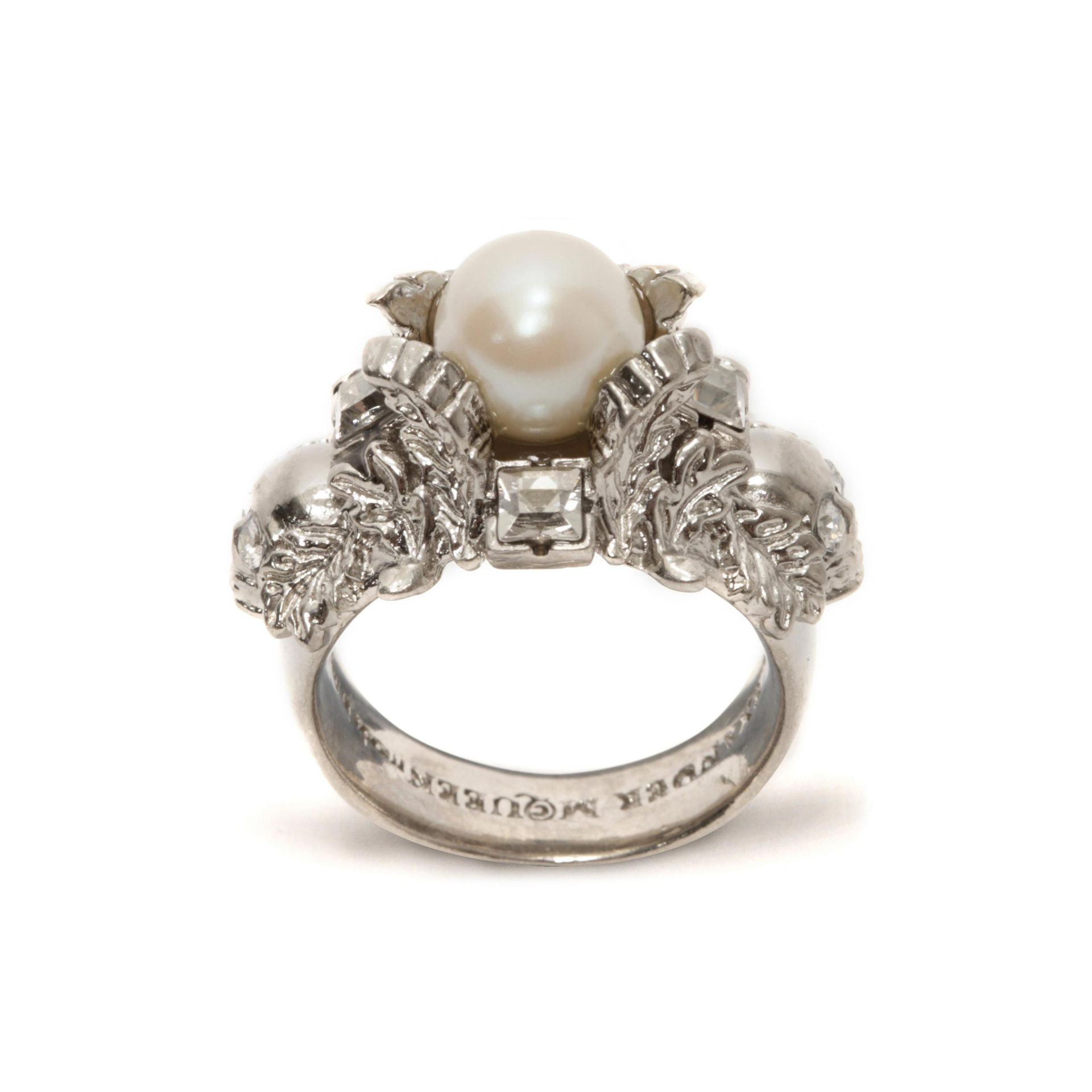 Gold-plated, Crystal And Faux Pearl Ring - 11 Alexander McQueen