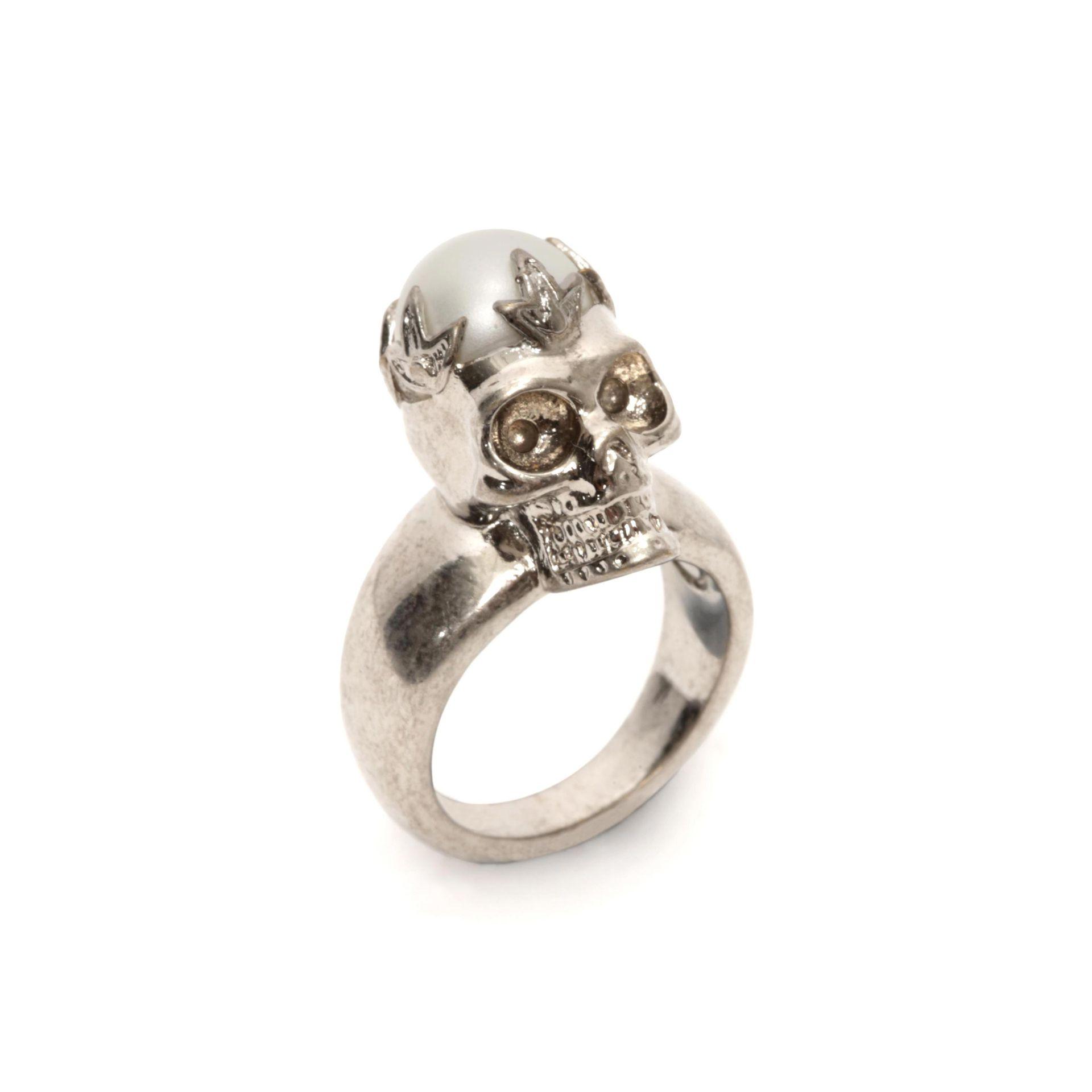 Alexander mcqueen Pearl Crown Skull Ring in Metallic