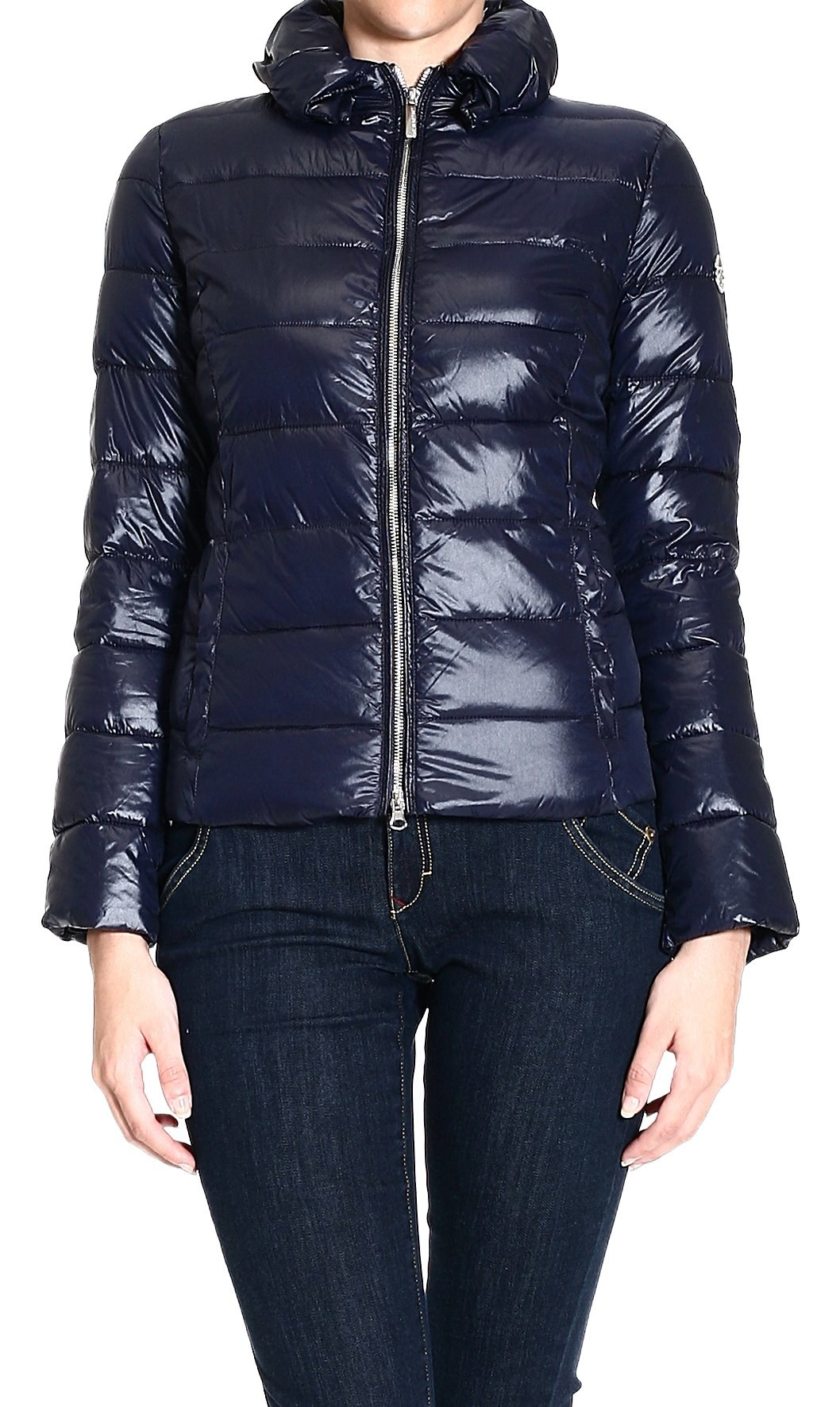 Armani Jeans Bomber Nylon Jacket With Light Belt In Blue