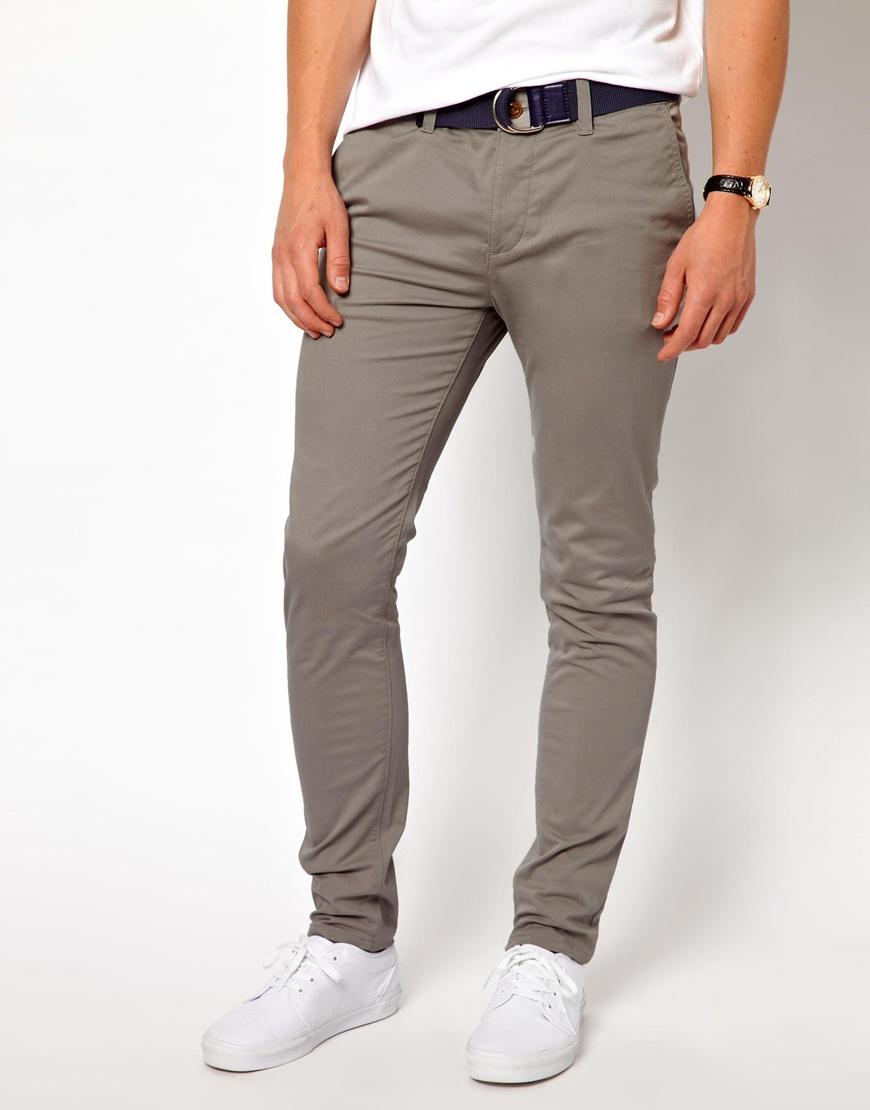 Asos Skinny Chinos In Gray For Men Lyst