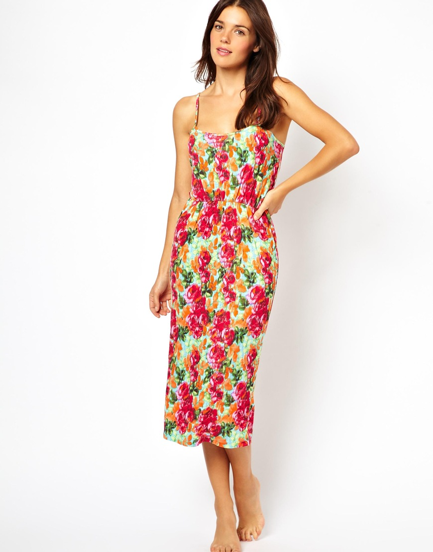 ffb2192c348 Lyst - ASOS Strappy Tie Back Rose Print Midi Beach Dress in Purple