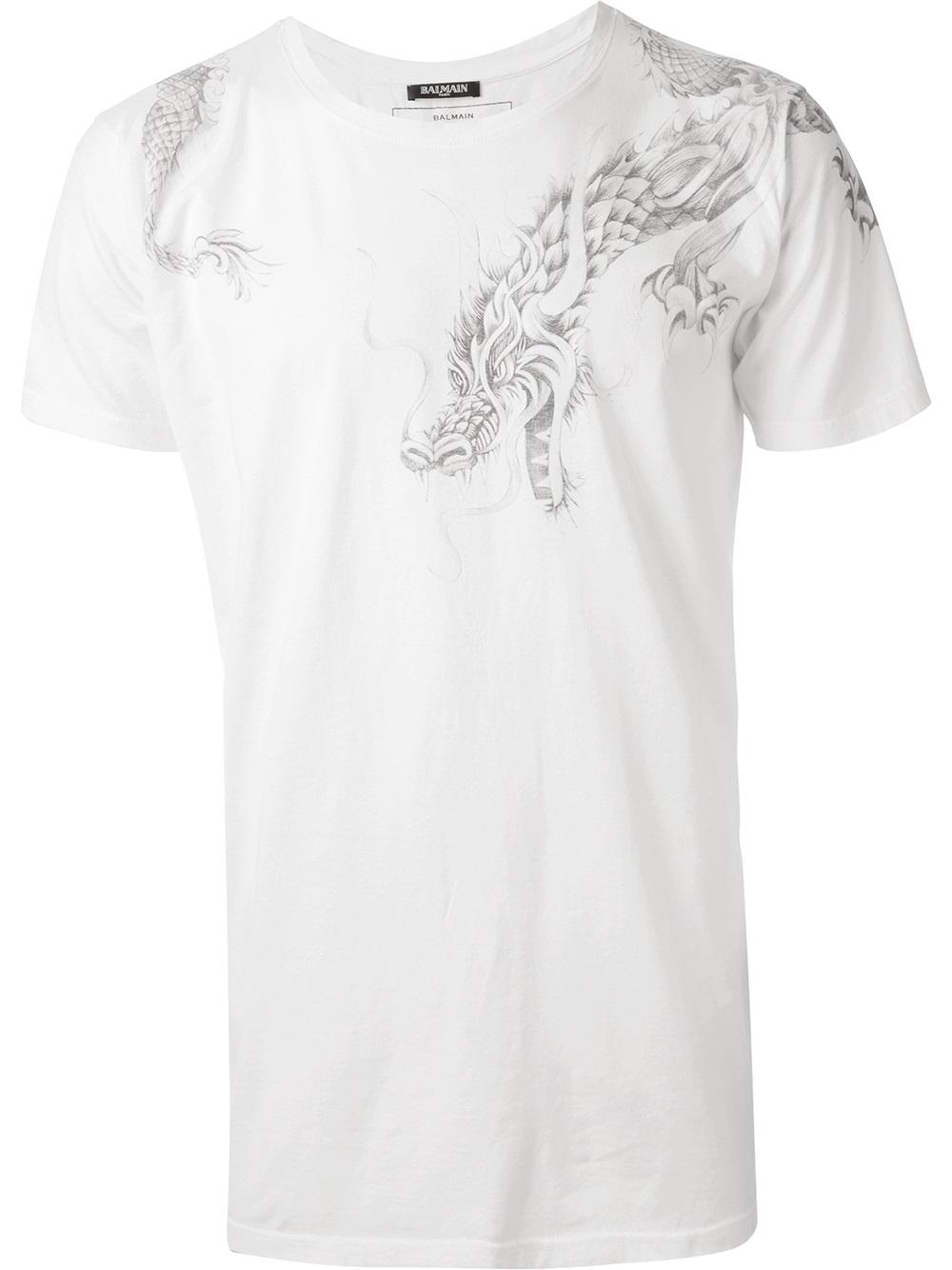 Balmain Dragon Tshirt In White For Men Lyst