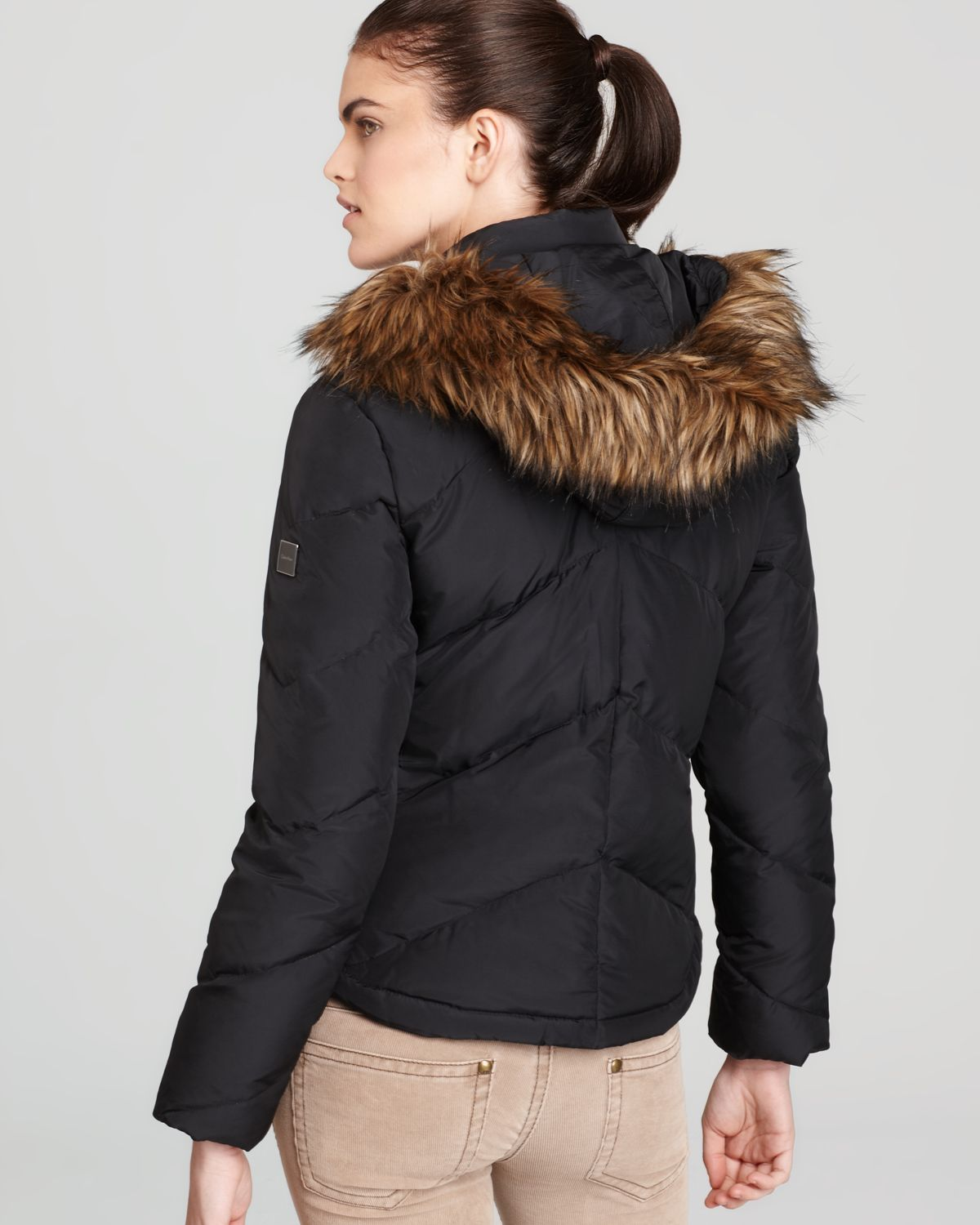 Calvin klein Short Coat with Faux Fur Hood in Gray | Lyst