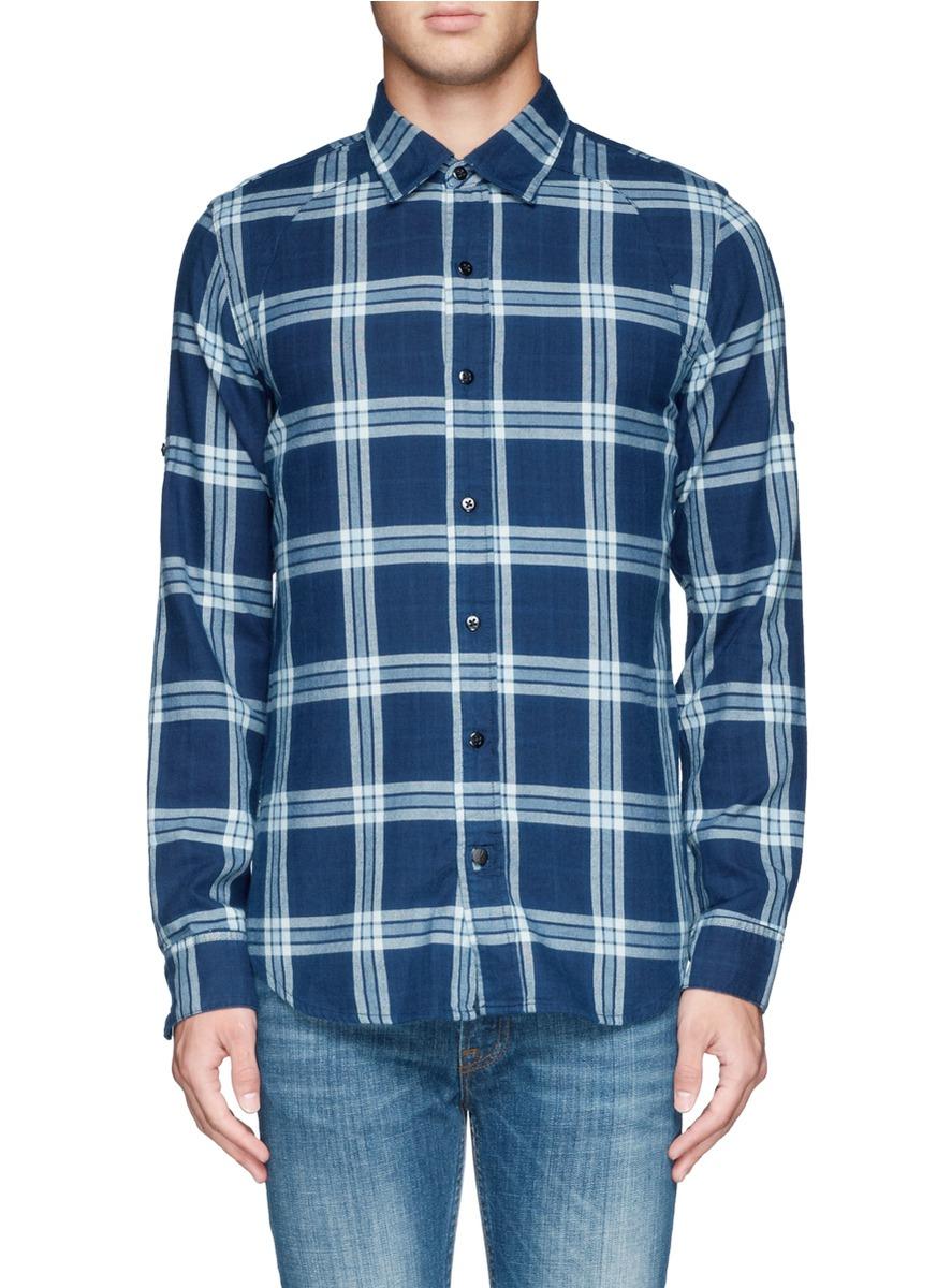 Lyst denham plaid cotton shirt in blue for men for Blue and green tartan shirt
