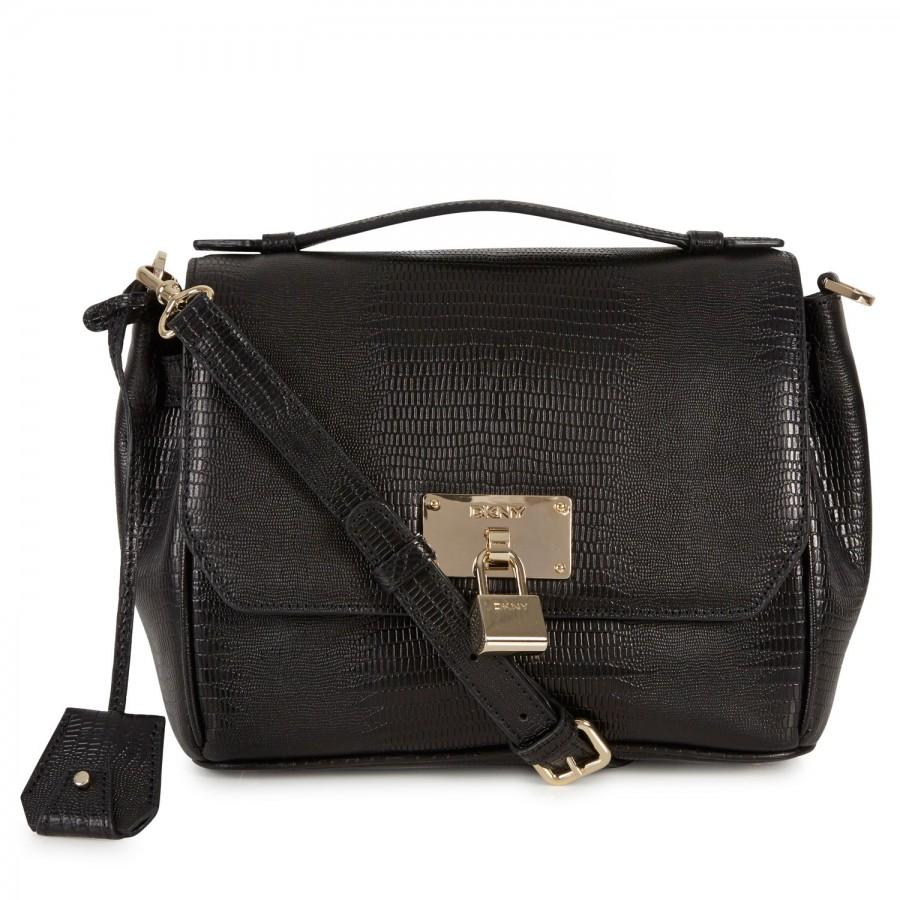 5e5aee73791443 Dkny Lizard Effect Leather Crossbody Bag in Black | Lyst