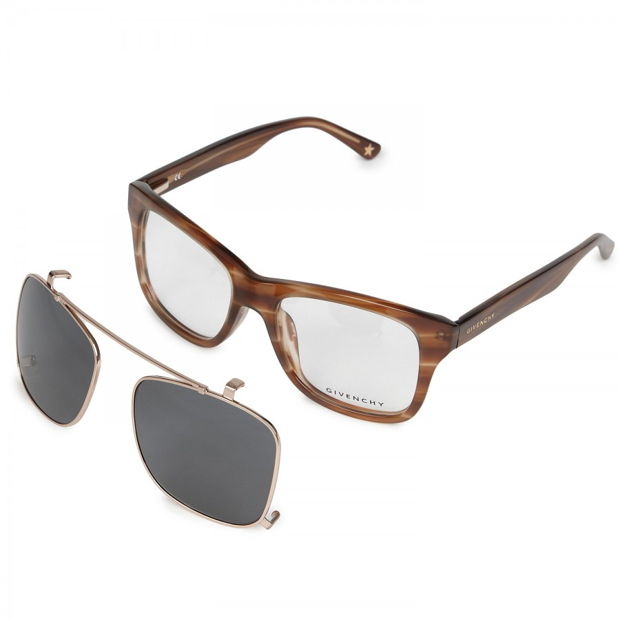 1115113f3d38 Givenchy Square Frame Clip On Sunglasses in Brown - Lyst