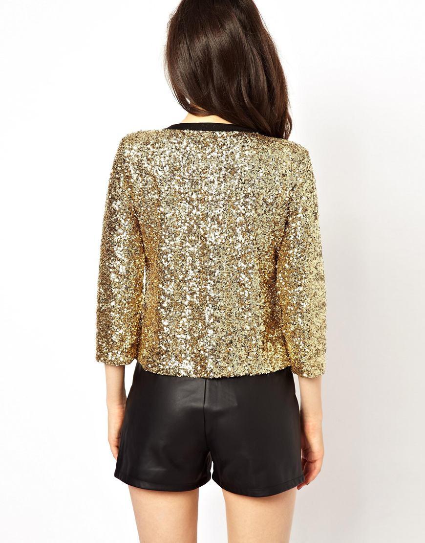 Glamorous Sequin Cardigan in Metallic | Lyst