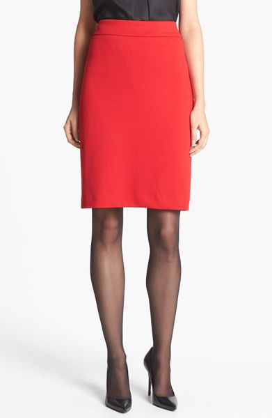 jones new york lucy ponte knit pencil skirt in red
