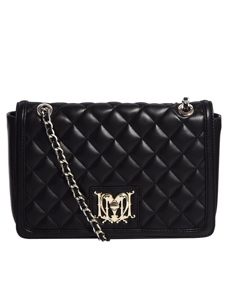 Love moschino Chain Strap Quilted Shoulder Bag in Black | Lyst