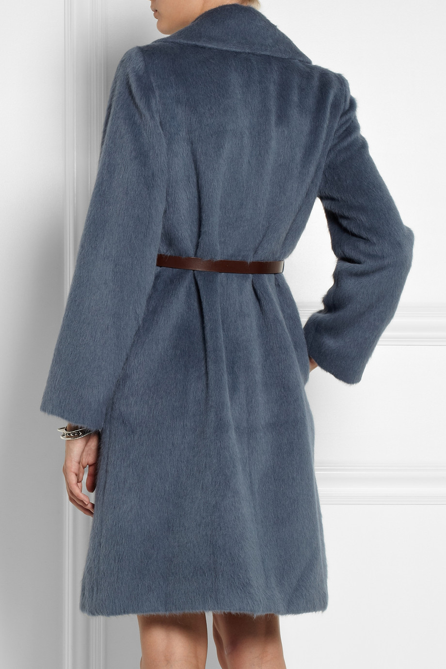 Marc Jacobs Belted Llama And Woolblend Coat In Blue Lyst