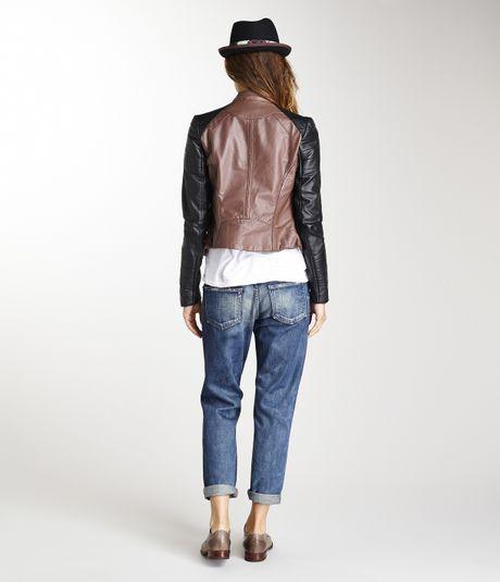 478 Kenna T Crinkled Military Black Leather Jacket Coat Sz S   eBay