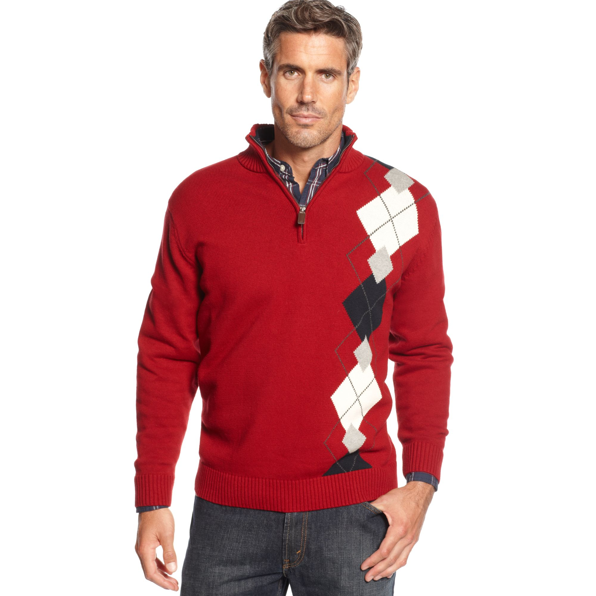 Oscar de la renta Cotton Argyle Quarter Zip Sweater in Red for Men ...