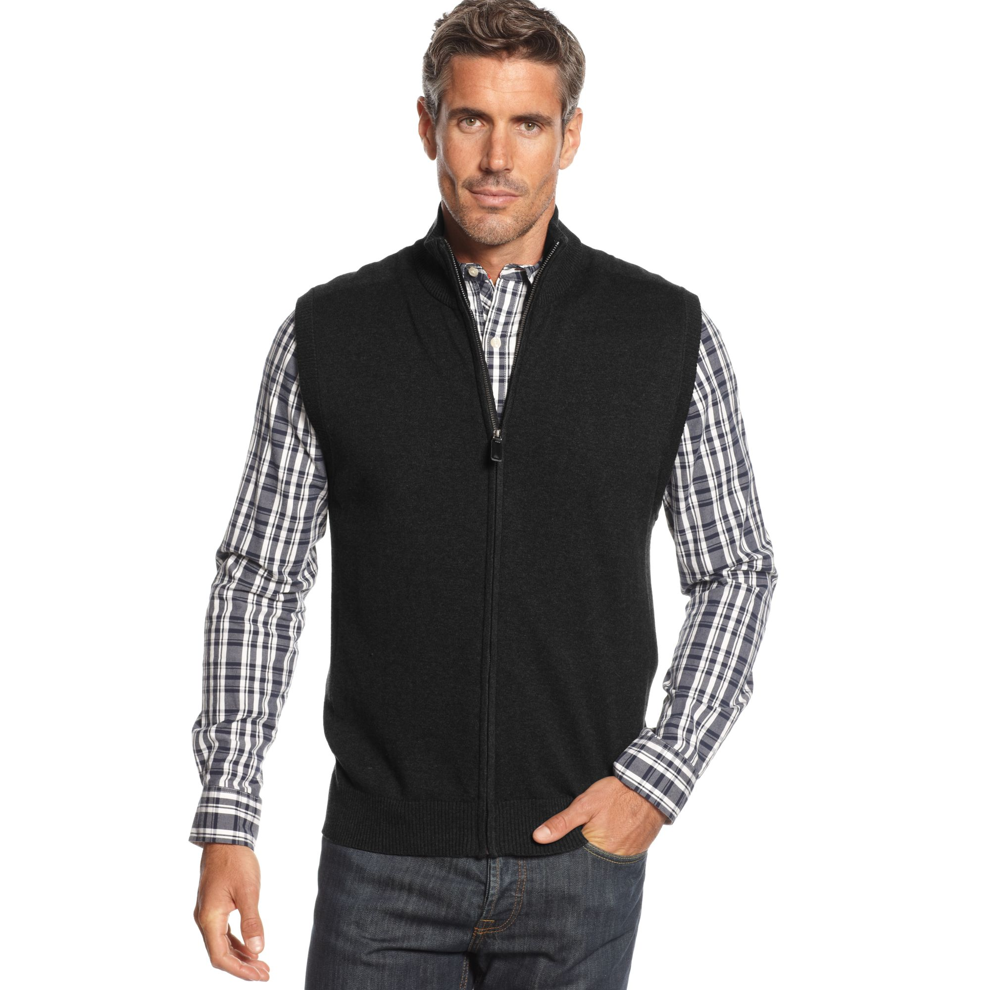 Black Sweater Vest Men - Cardigan With Buttons
