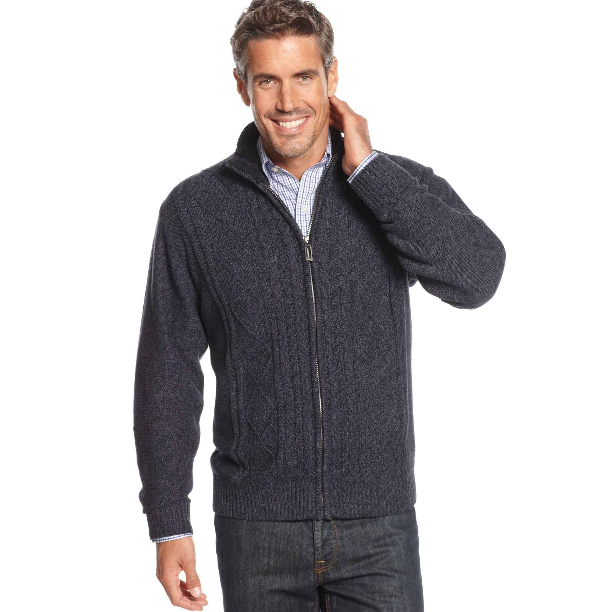 Oscar de la renta Cotton Cable Zip Sweater Jacket in Blue for Men ...