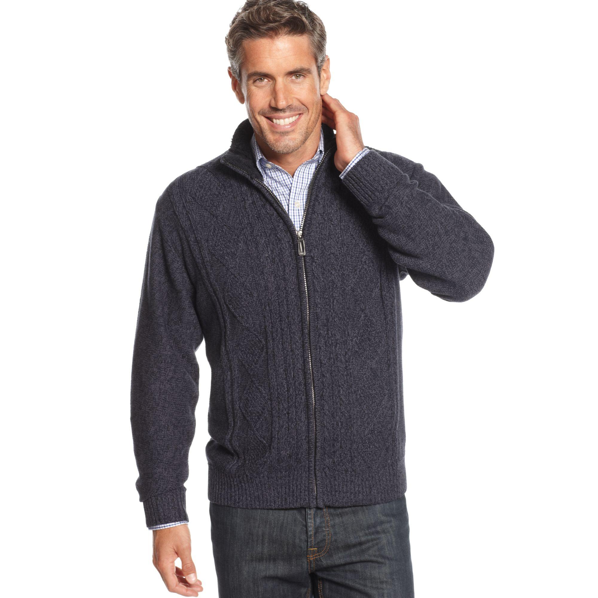 Oscar De La Renta Cotton Cable Zip Sweater Jacket In Blue