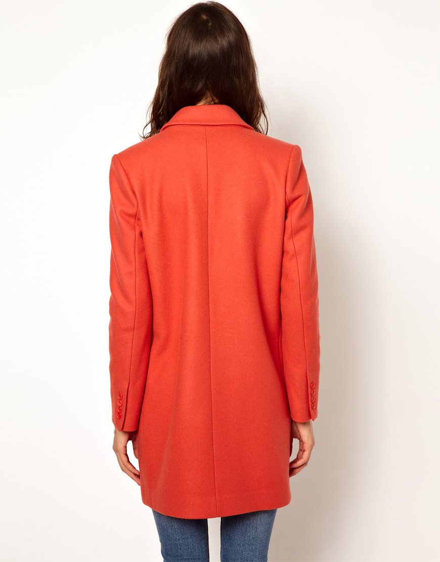 66dbc118e93656 Lyst - Paul   Joe Crombie Coat in Coral Wool with Tiger Lining in Red