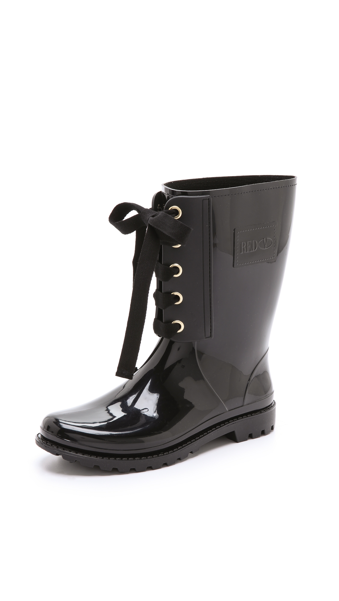 Black Lace Up Rain Boots - Boot Hto
