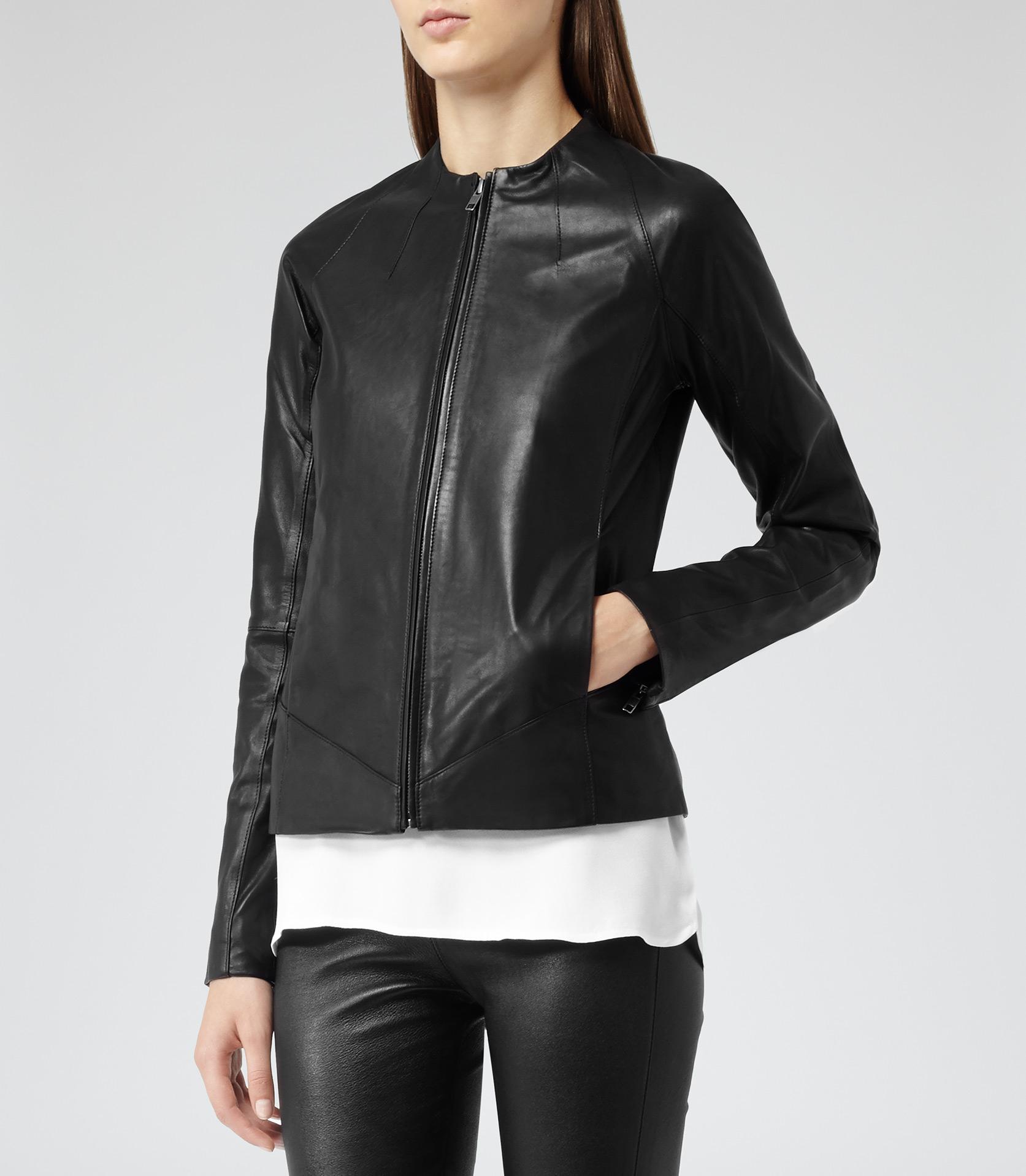 08fc8edfdaff Reiss Kinney Zip Through Leather Jacket in Black - Lyst