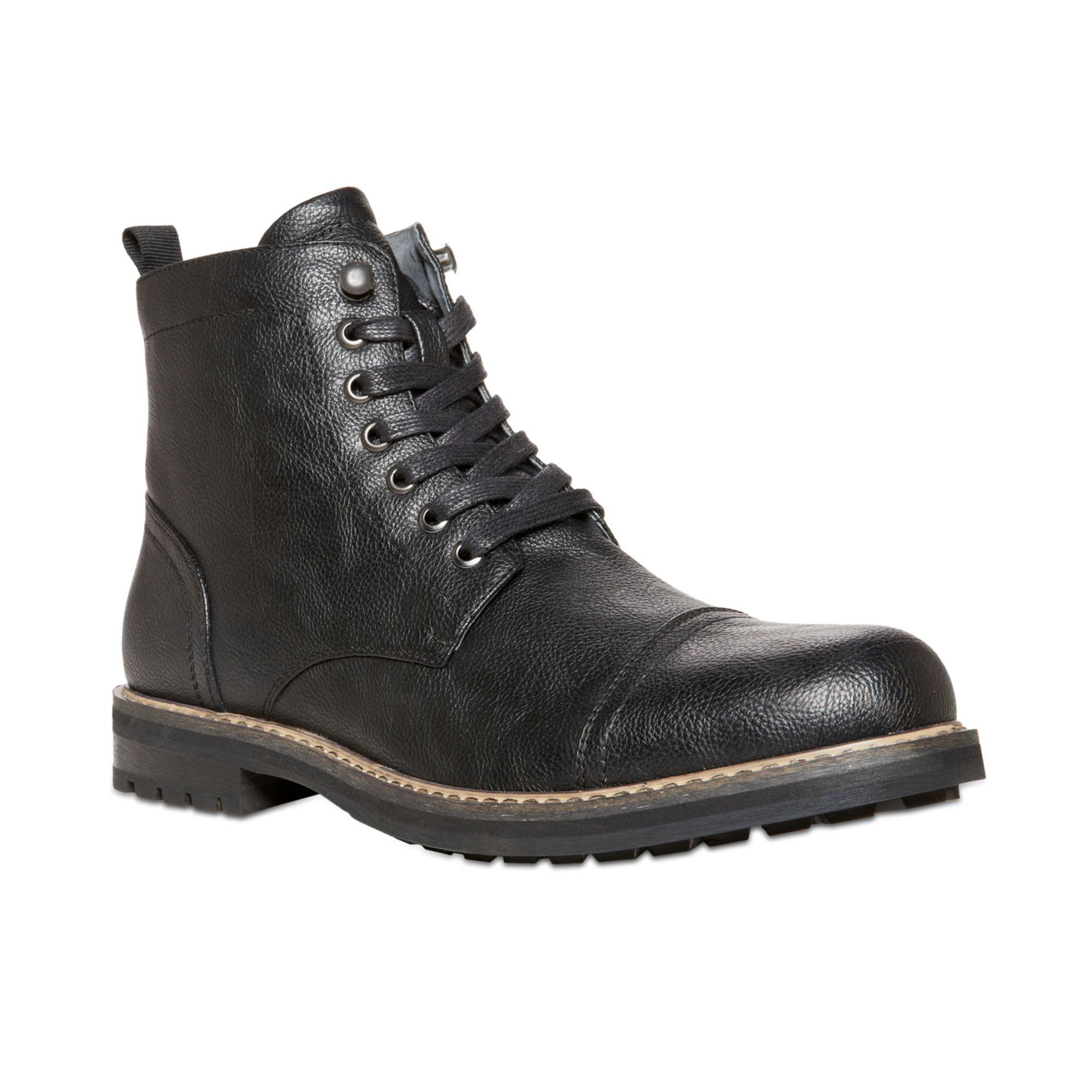 steve madden ignite captoe boots in black for men lyst. Black Bedroom Furniture Sets. Home Design Ideas