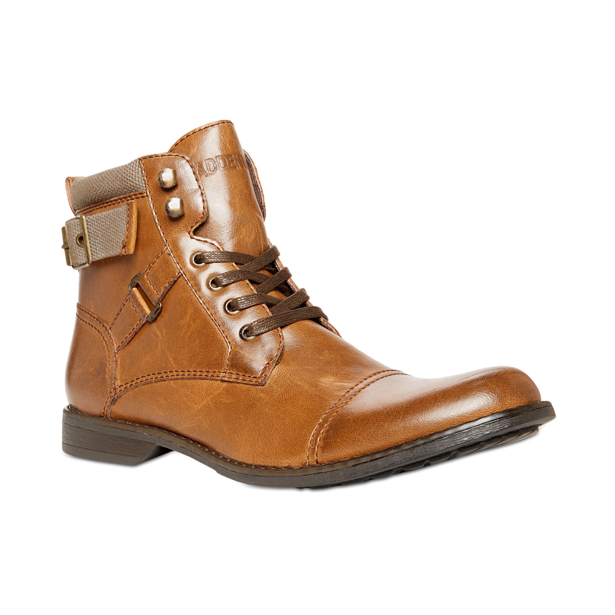 steve madden madden kooper lace up boots in brown for
