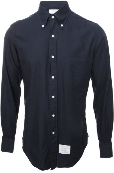 Thom Browne Classic Button Down Shirt Navy Blue In Blue