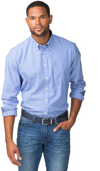 Tommy Hilfiger Bt Oxford Striped Shirt In Blue For Men