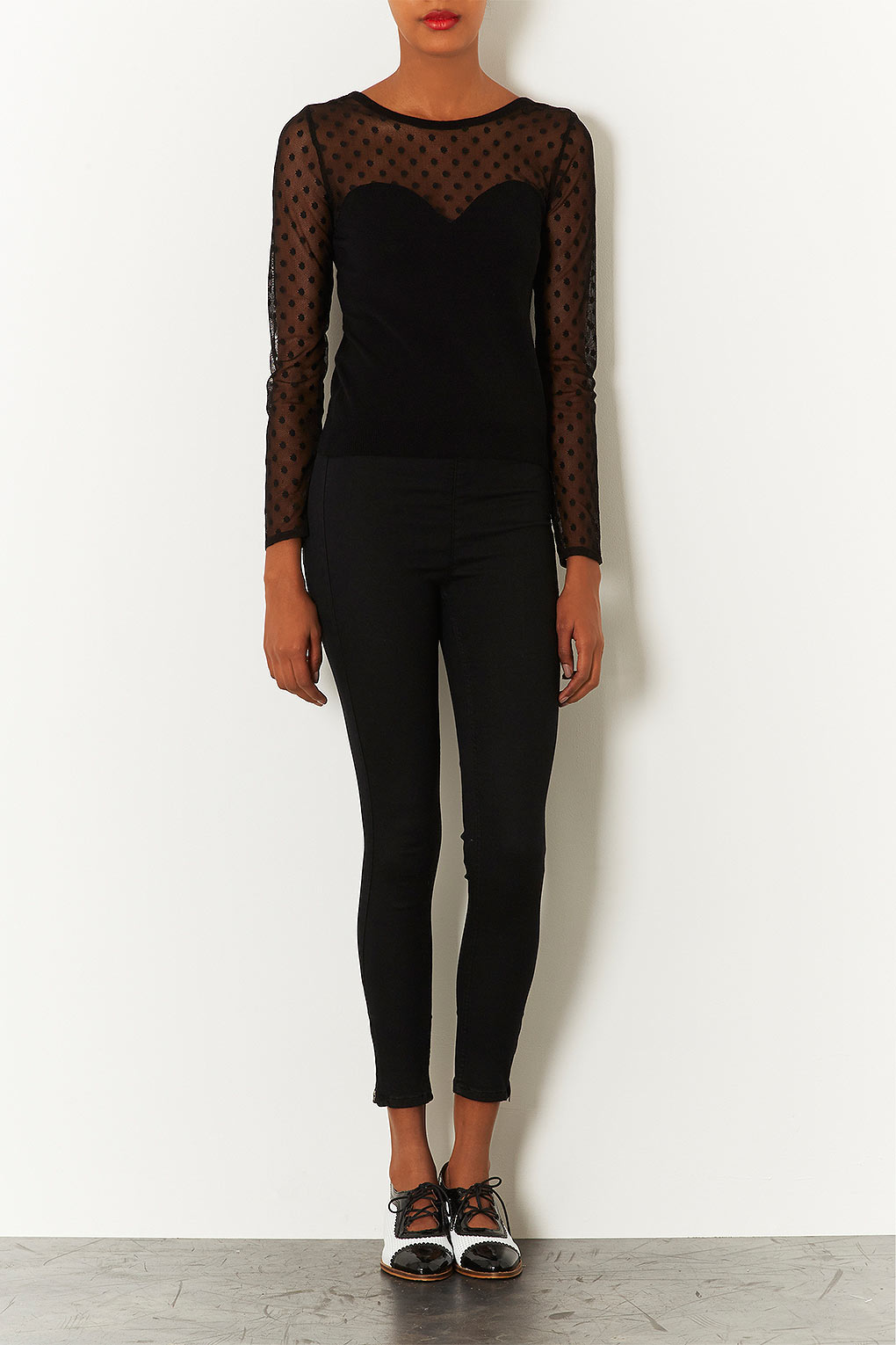 Topshop Moto Zip Side Black Joni Jeans in Black | Lyst