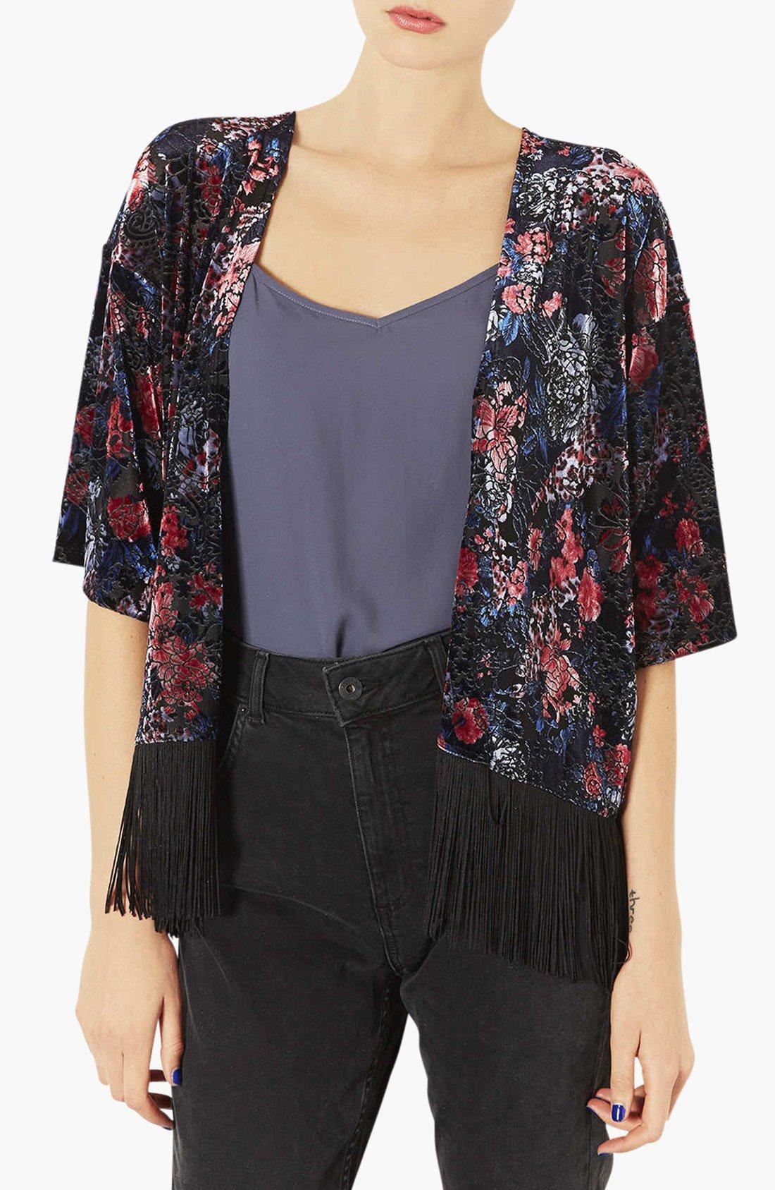 Topshop Floral Velvet Kimono Jacket In Black Black Multi