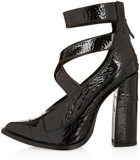 topshop strappy court shoes in black lyst