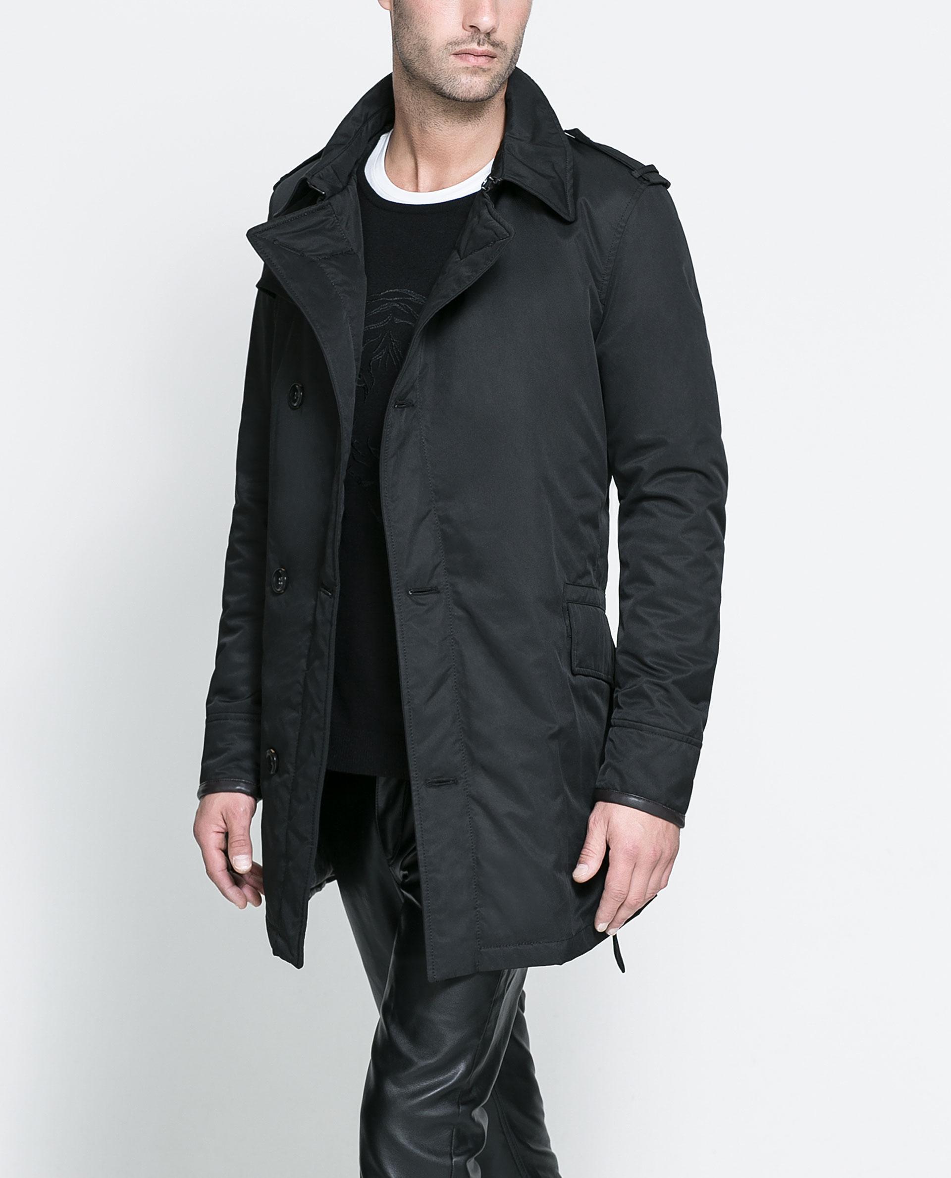 Zara Black Trench Coat in Black for Men | Lyst