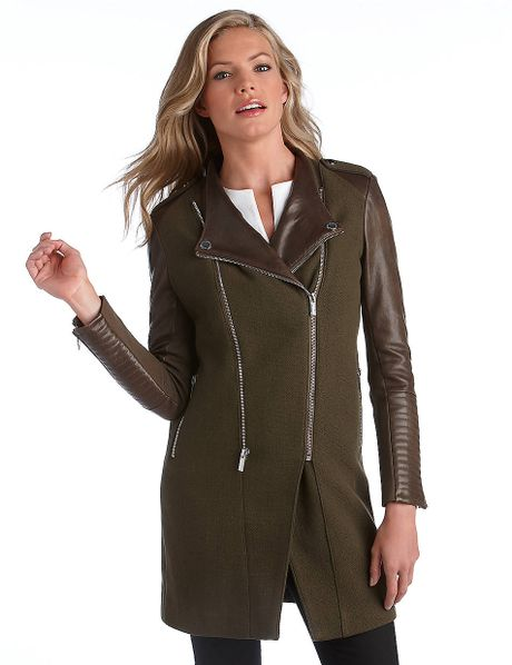 Bcbgmaxazria Double Zip Leather Sleeve Coat in Green
