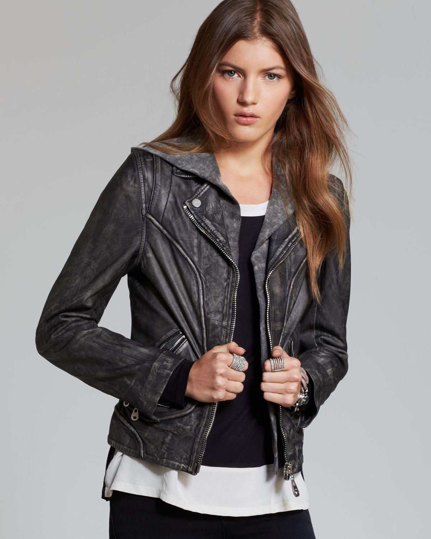 Lyst Doma Leather Quotation Jacket Washed Leather Moto