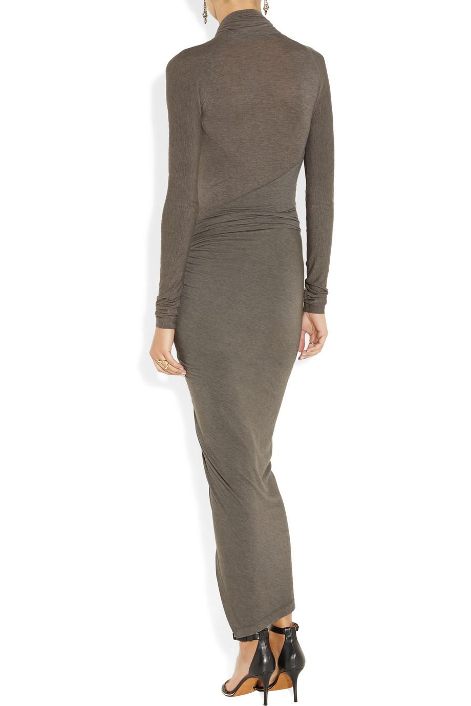 Donna Karan Draped Wrapeffect Jersey Dress In Gray Lyst