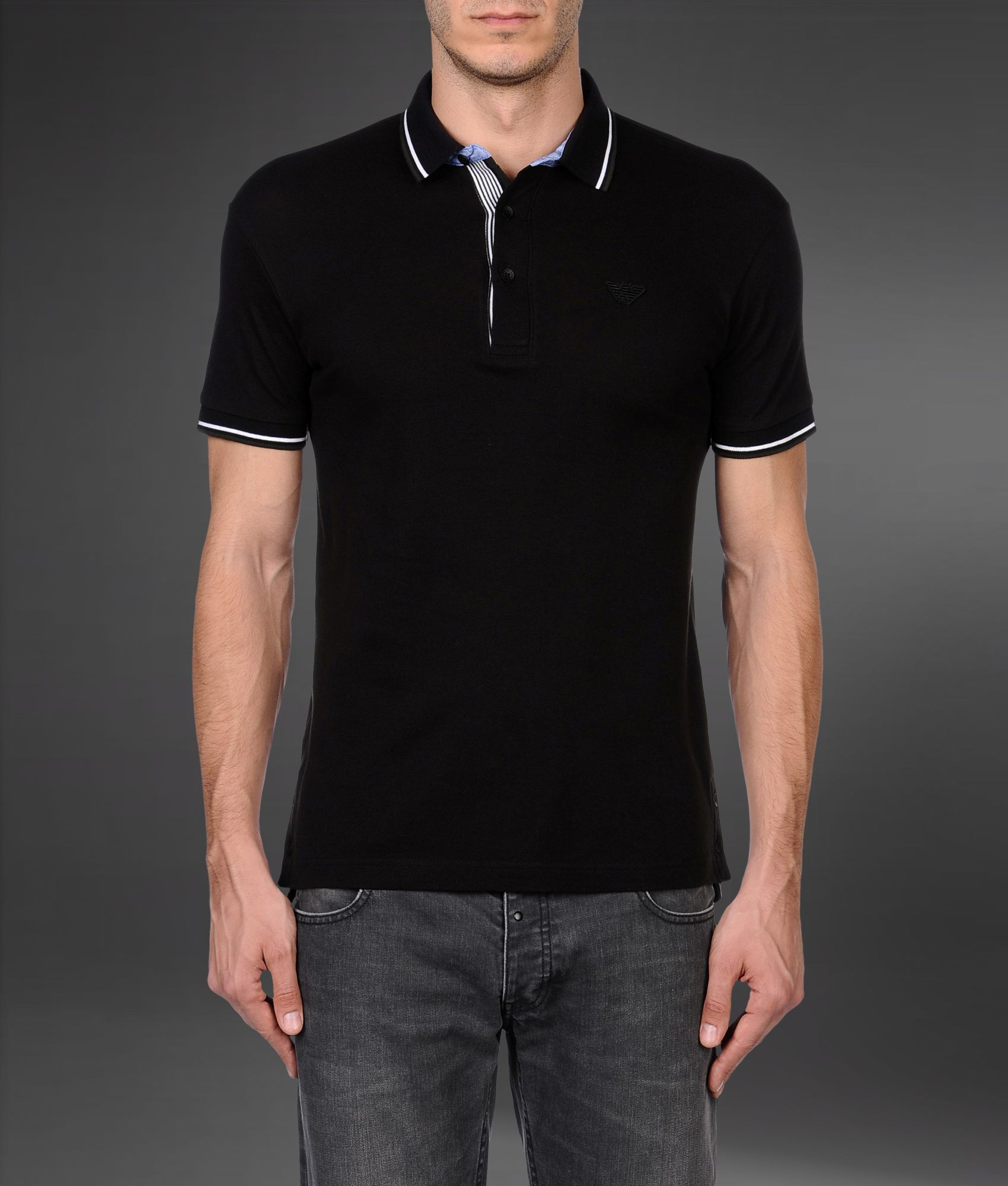 3bf870df6 Emporio Armani Shortsleeved Polo Shirt in Black for Men - Lyst