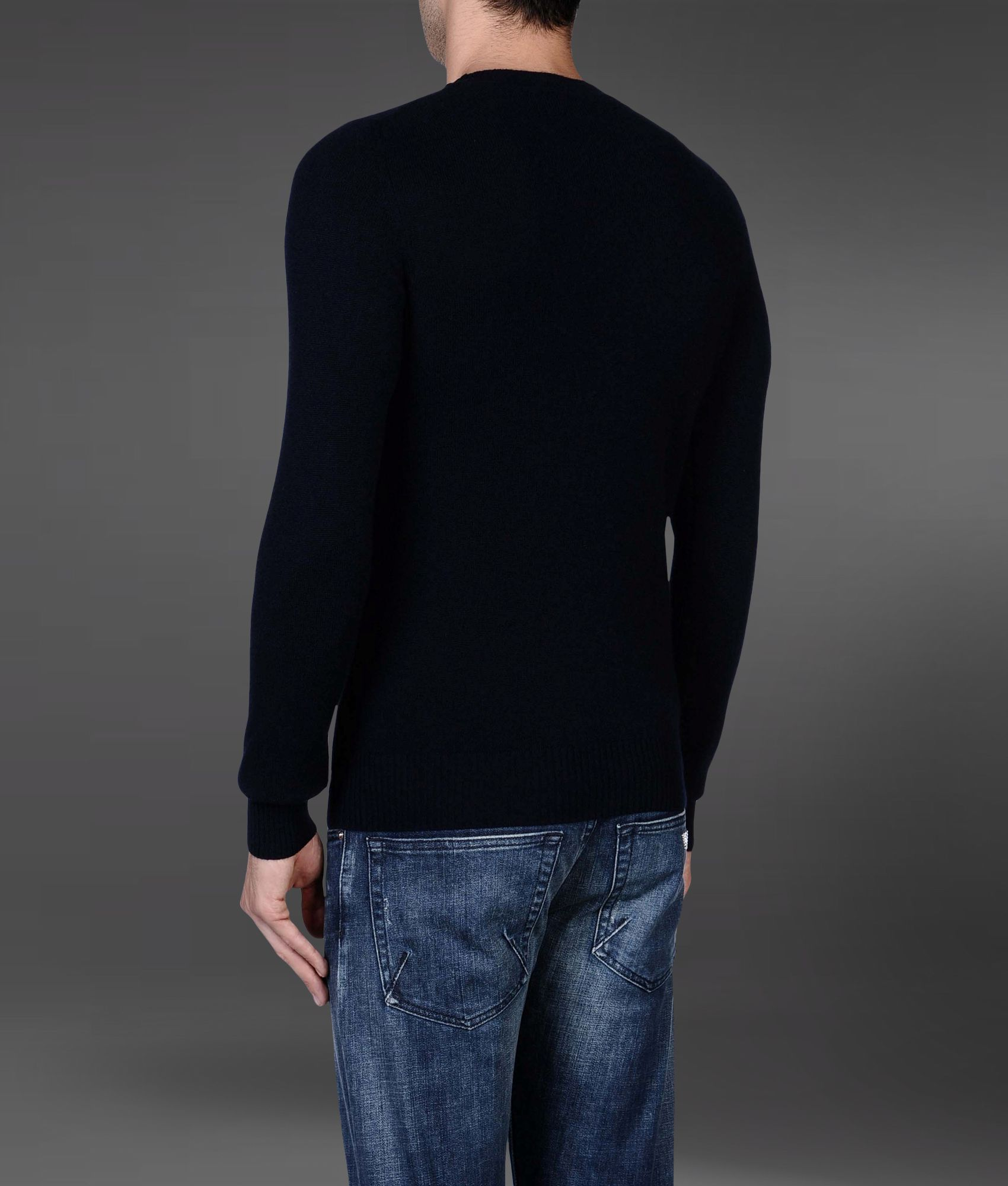 emporio armani sweater in cashmere in blue for men lyst. Black Bedroom Furniture Sets. Home Design Ideas