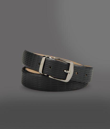 Emporio Armani Leather Belt in Gray for Men (Dark blue)   Lyst