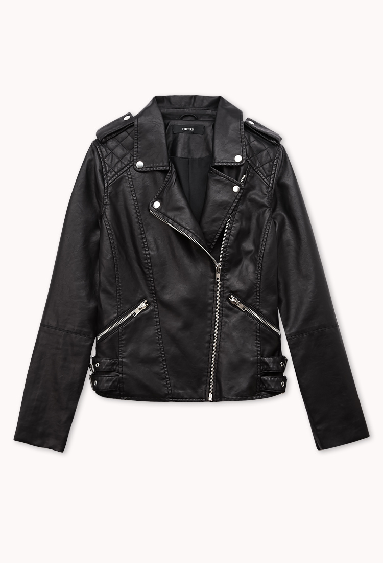 forever 21 moto babe faux leather jacket in black lyst