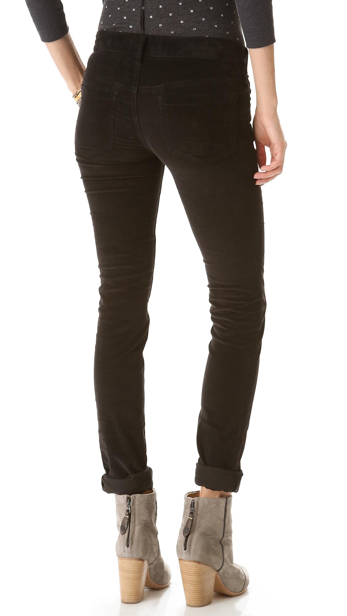 Free people Skinny Corduroy Pants in Black   Lyst
