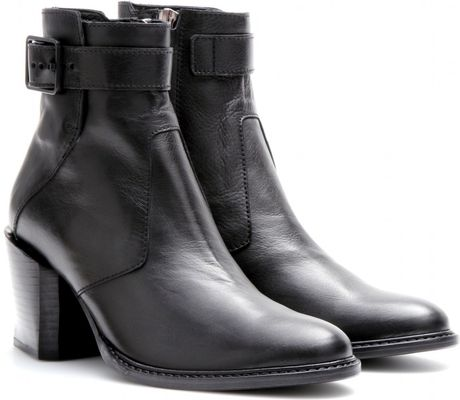 Helmut Lang Leather Ankle Boots in Black