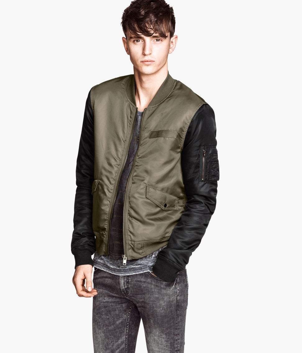 h m padded bomber jacket in green for men khaki green lyst. Black Bedroom Furniture Sets. Home Design Ideas