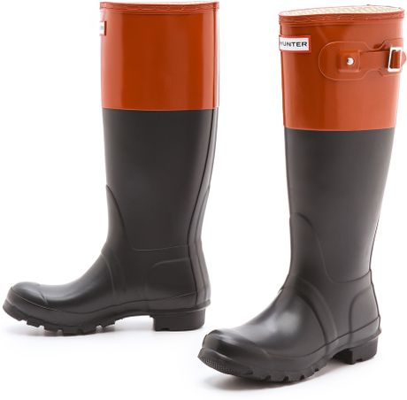 hunter original colorblock rain boots in black black