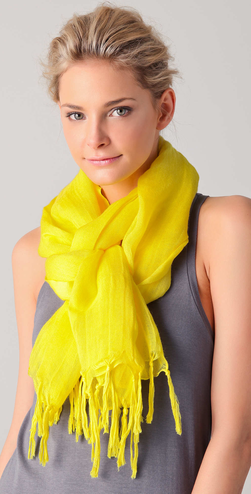Love Quotes Scarf Love Quotes Knotted Tassel Linen Scarf In Yellow  Lyst
