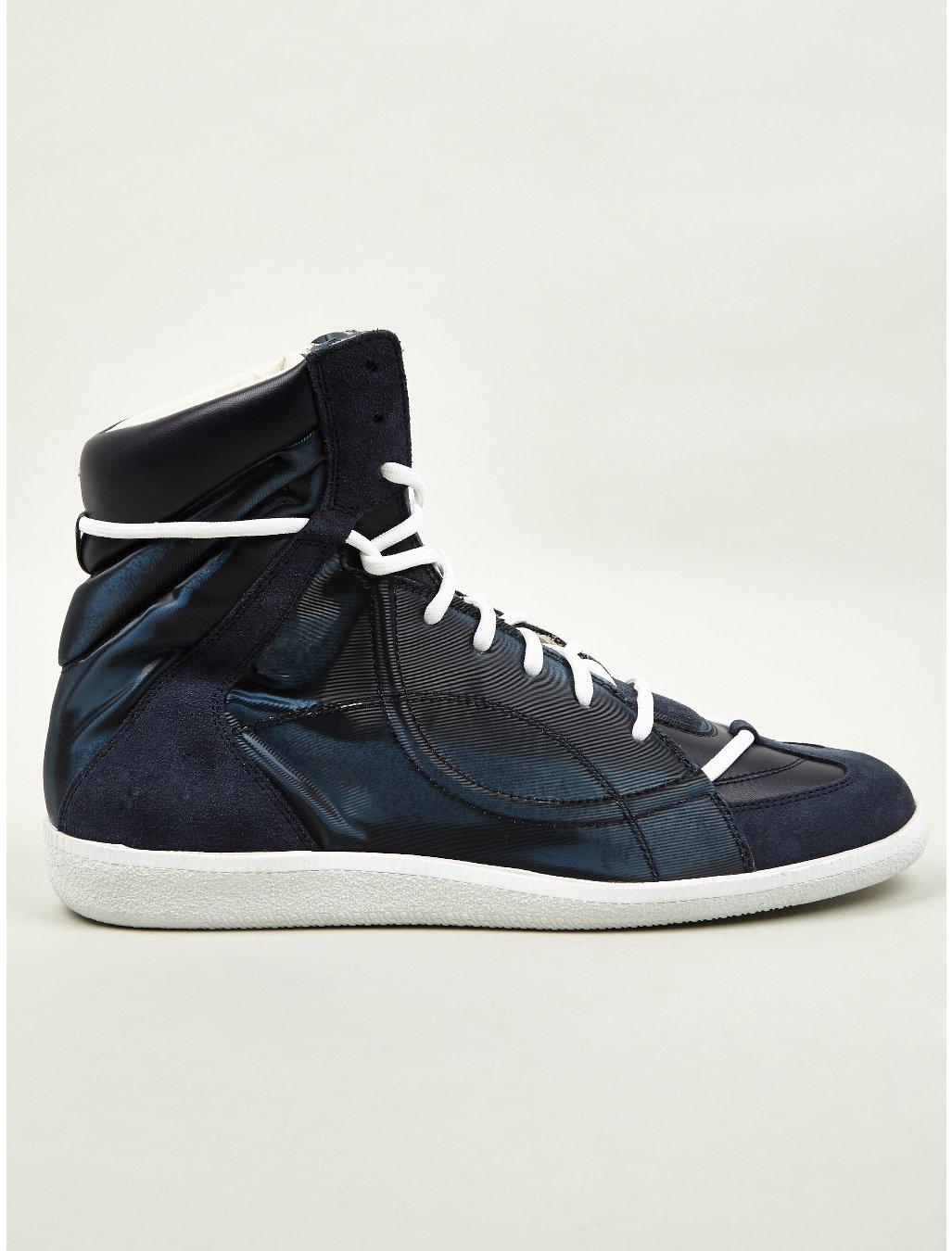 maison martin margiela 22 mens hidden lace midtop sneakers in blue for men lyst. Black Bedroom Furniture Sets. Home Design Ideas