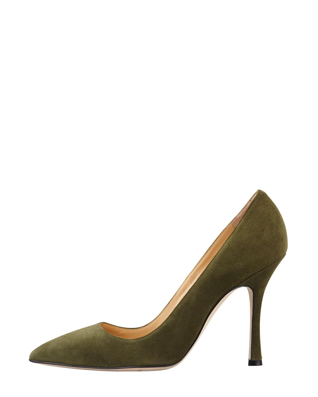 Lyst Manolo Blahnik Bb Suede Pointedtoe Pump Olive In Green