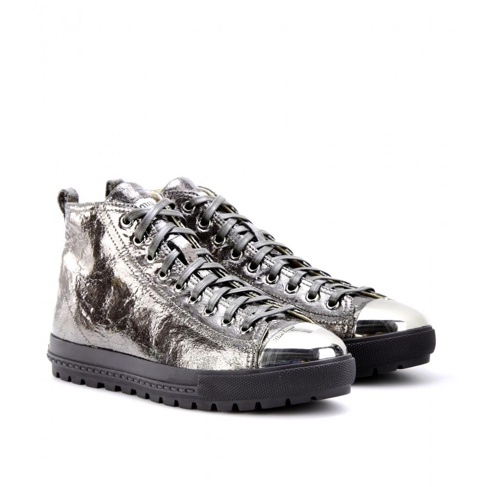 miu miu metallic leather sneakers with metal toe cap in silver lyst. Black Bedroom Furniture Sets. Home Design Ideas
