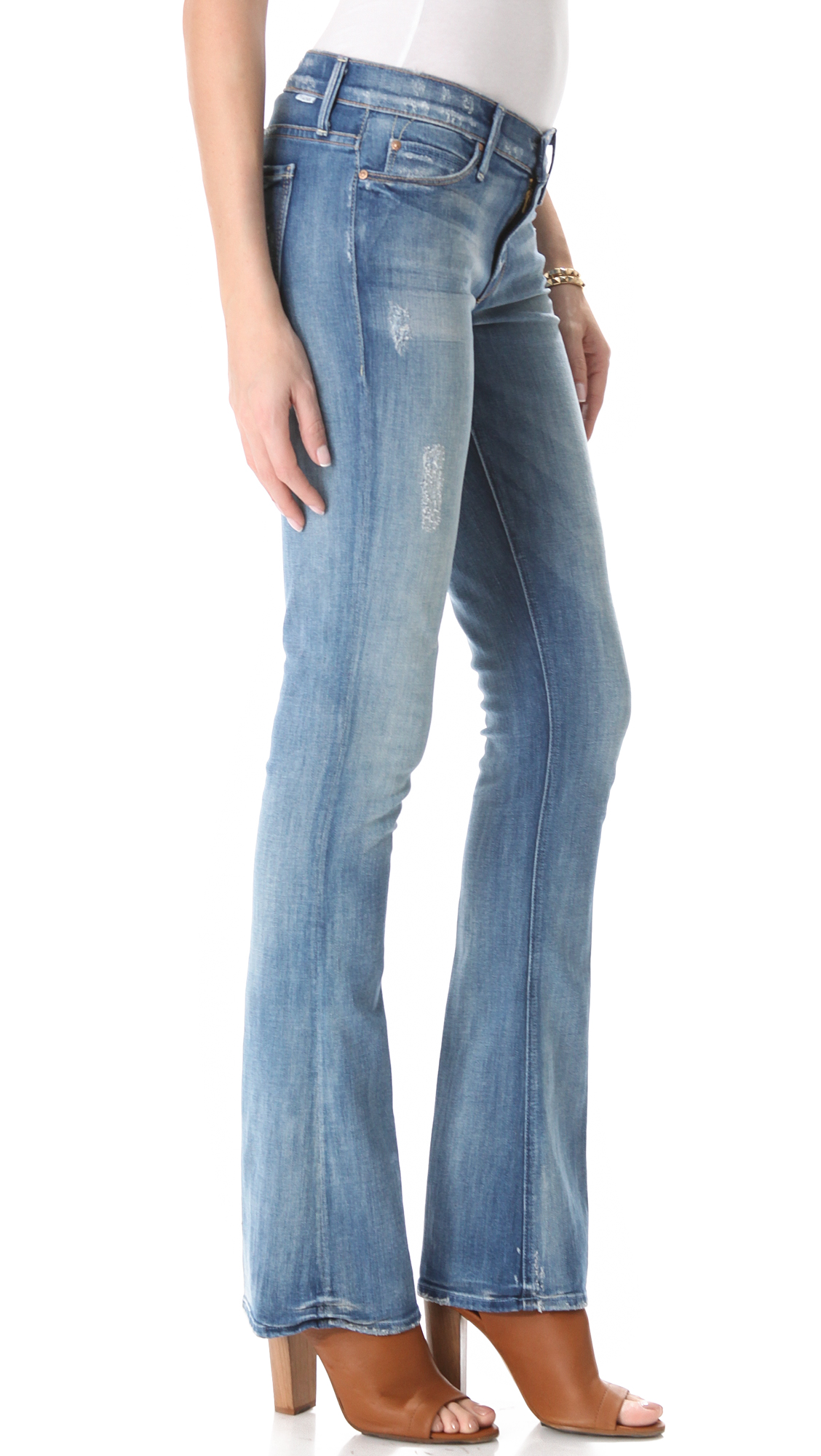 Mother The Runaway Skinny Flare Jeans in Blue