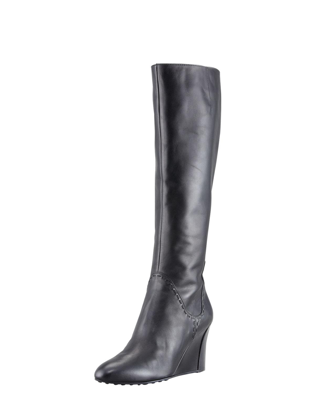 tod s zeppa wedge boot black in black lyst