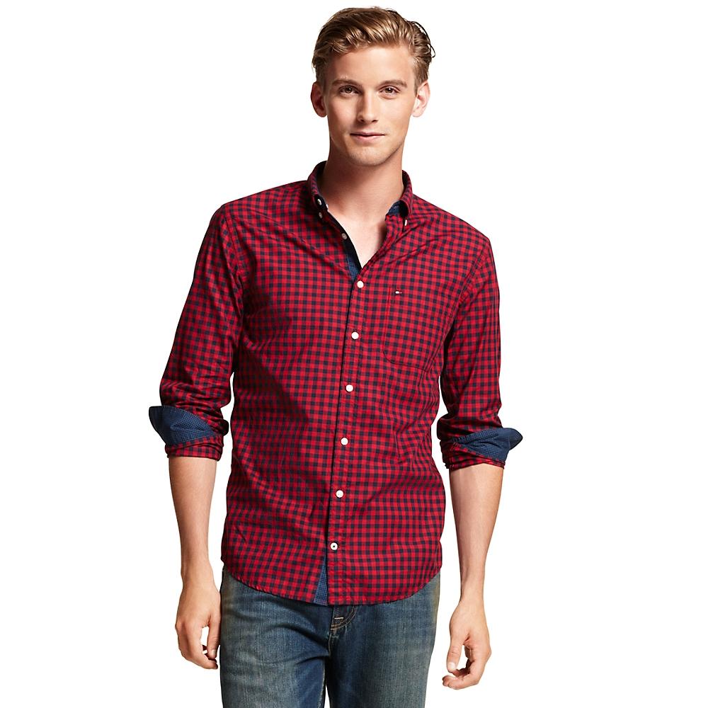 tommy hilfiger new york fit gingham shirt in red for men. Black Bedroom Furniture Sets. Home Design Ideas